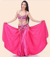 Belly Dance Paillette Bra + Both Sides Slits Skirt + Belt 10 Colors 3pcs