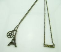 Eiffel tower ,love letter, punk pendants necklace antique bronze plated with chain and extra chain free shipping,6pcs/lot