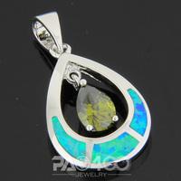 Green Peridot Pacific Blue Fire Opal Silver Fashion  Jewelry Women & Men Pendant OP478LS  Wholesale & Retail