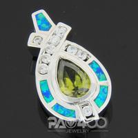 Green Peridot Pacific Blue Fire Opal Silver Fashion  Jewelry Women & Men Pendant OP539LS  Wholesale & Retail