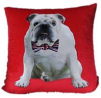 New Velvet Red Modern Bulldog with UK Flag Bowknot Tie Fashion Art Decorative Pillow Case Cushion Cover Throw Sham