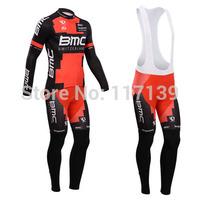 NEW! 2014 BMC Team Thermal Fleece Cycling Clothing/Cycling Wear/Long Sleeve Cycling Jersey (BIB) Suit-4G Free Shipping!