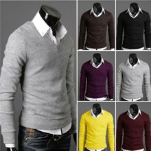 2014 Hot Explosion Models Men's Sweater V Neck Cotton Men's Sweater Long-sleeved T-shirt Six Colors M-L-XL-XXL Sweater Men(China (Mainland))