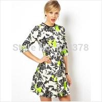 European Style 2014 New Design Fluorescence Color Dress Print Slim Woman Party Dress Vintage Mini Female Pleated Dress t635