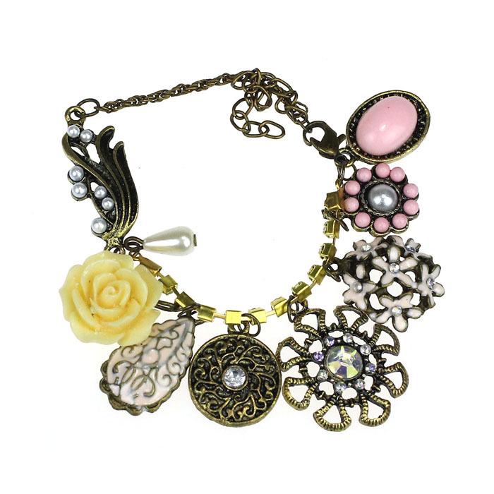 2014 Newest Retro Irregular Rhinestone beautiful Flower Bracelet Party Charm Pendant Anne T-east(China (Mainland))