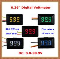 """Five Display led Color with shell DC0-100V 0.36"""" Digital Voltmeter 3 wires 3bit Voltage Meter [10 pcs/lot]"""