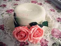 Princess sweet lolita sun hat The original manual handmade Europe amorous style big rose bud flat lace flower straw hat