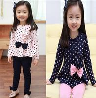 Children's Wear New Female Baby Princess Lady Fan Dot Bow Sports Leisure Suit Children Clothes 2pcs/set