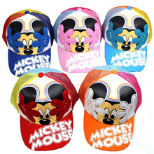 2014 New  children's summer baseball cap Small letters cap mickey mouse Net hat(China (Mainland))