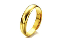 New Arriving 18K Gold Plated Simple Surface Rings Fashion  Men Women Ladies Girls Anti-Allergy Ajustable Opening Rings Jewelry