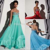 High Quality A Line Sweetheart Prom Dress Floor Length Chiffon Beaded Crystal Cheap Prom Gowns