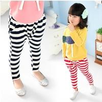 Baby boys girls pants Striped Haren pants fashion children trousers cotton panties Black+Red