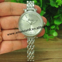 50pcs/lot,New Fashion Geneva Steel Woman Watch Woman No Rhinestone Alloy Watches Thin Metal Watchband Lady Dress Wrist Watches