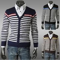 3 Colors New Brand Korean Autumn Men Warm Sweater Striped Male V Neck Stylish Design Cotton Casual Mens Sweaters AX375 M-2XL
