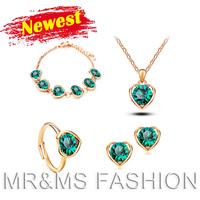 Free shipping factory wholesales 18kgp heart pendant necklace+earrings+bracelet+rings fashion women best gift Jewelry set Yk0033