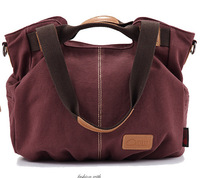 2014 new washed canvas with leather shoulder bag canvas bag portable version of fashion handbags collapse