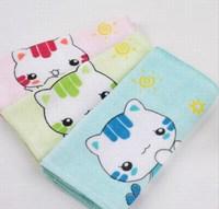 100% cotton washcloth skin-friendly kitten towel print terry children towel waste-absorbing small towel