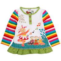 New Arrival Cotton Girls T-shirts Garden Baby Pattern Long-Sleeved Ruffles Cloth Edge Tops O-neck Autumn Spring Girls Tees TZ09