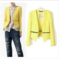 Free Shipping 2013 ZA New Spring Autumn Women's Fashion Zipper Suit 2-ways Casual Blazer Suit Outerwear Short Jacket 3 Colors