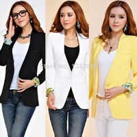 2014 spring new Korean women OL small suit casual jacket long sleeve Leisure Coat 4 Color Small Blazer Plus size XXL