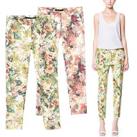 2014 Newest Vintage Women Retro Floral Print Red and Green Slim Casual Trousers Pencil Pants Legging S-L