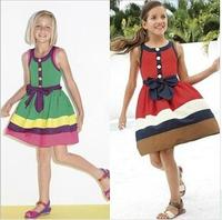 Wholesale 2014 Europe and America N summer girls flower girl princess cotton dress girl stripe dress
