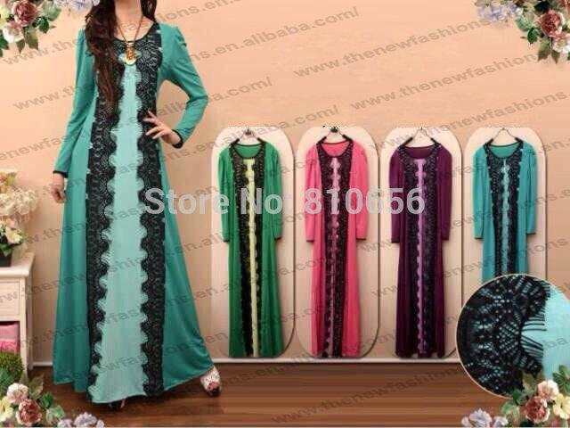 Mu10017 versandkostenfrei 2014 neue Top-Verkäufer frau mode langarm muslim abaya kleider mit spitze