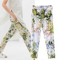 2014 Fashion Women Elastic Waist Flower Print Loose Cotton Casual Pants Free Shipping XZR07