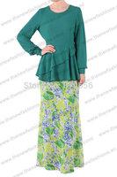 MU10022 Wholesale Women's Muslim 2 Pcs Suit Clothing Jilbab High Quality Flower Arab Clothes  Free Shipping