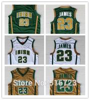 Free Shipping Irish High School 23 Lebron James Green Yellow White basketball jersey Size : S-XXL Mix Order