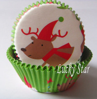 Free Shipping 300pcs Green Deer Christmas cupcake cup cases,bake cup,muffin cases,cake packing holder birthday bakery supply