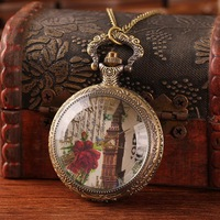 Fashion style carved flower pattern women watch pendant China round necklace timepieces quartz alloy wholesale free shipping