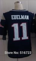 Free shipping Elite Mens  #11 Julian Edelman Blue 2014 Mens Football Jerseys,Embroidery logos,US size 40-56 can mix order