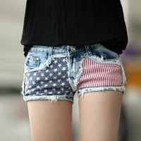 New 2014 spring jeans short female  thin denim shorts women american flag print sexy hot pants summer shorts for women XS-XL