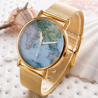 NEW Summer Arrival Women's Fashion Watches Luxury Women Dress Watches The World Map Dial with FULL Steel Unisex Quartz Watch