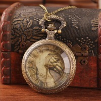 Unique antique brass watch pocket steampunk horse shape glass face roman number analog alloy quartz with chain top sale dropship