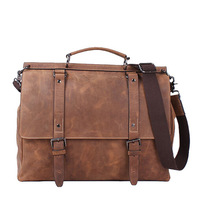 The latest head layer cowhide Crazy Horse Leather retro rough leather  leisure vintage men messenger bags briefcase bags 2014