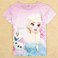 2014 New Baby Girls Summer Frozen T Shirt Girl's Short Sleeve T-shirt 100% Polyester Kids Frozen T Shirt