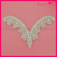 Hot Sale Free Shipping Handmade Beaded Pearl Applique Patch WRA-532