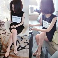 Summer big promotion 2014 street fashion letter print black sleeve length vest t-shirt