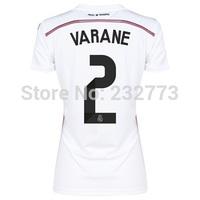 Women 14/15 Real Madrid #2 Raphael Varane Home Jerseys White shirt Lady 14/2015 Cheap Soccer Uniforms kit Thailand Quality