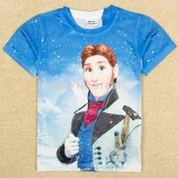 free shipping 2014 new kids boys Frozen t-shirt 100% qmilch t shirt short sleeve blue children Clothing