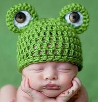 Newborn Baby Girl Boy Photography Props Crochet Hat Cap Children's Accessories Knitted Beanies Infant Frog Skullies 2015