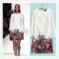 2014 Autumn star print dress long sleeve o-neck vestido estampado chiffon fashion print floral short dress vestido manga longa