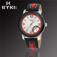 Promotion EYKI Brand Fashion Luxury Men Military Watches, Automatic Date, Waterproof, Leather Quartz Watch, Free Shipping