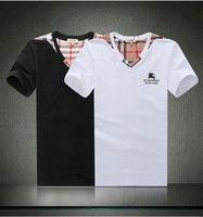 2014 Mens Embrodery Short Sleeve Cotton T Shirt V Neck Boy London Shirts Men's Clothes