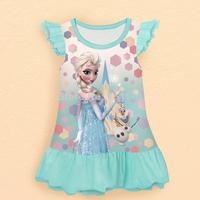 Free Shipping 2014 Hot Selling Elsa Anna beautiful Dress New Style Girls Frozen Dress Fashion princess Dress Children's Cloting