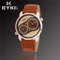 Promotion EYKI Exquisite Luxury Fashion Brand Men's Watches, Waterproof, Men's Leather Quartz Watch, Free Shipping