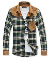 Autumn new mens fashion long sleeve slim fit plaid patchwork casual shirt plus size XL XXL XXXL sale free shipping drop shipping