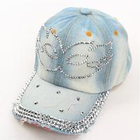 Free Shipping 1 pcs 2014 Fashion Diamond Mask Baseball Cap Zircon Denim Snapback Caps Spring Women Drill Hats 5colors Gorras